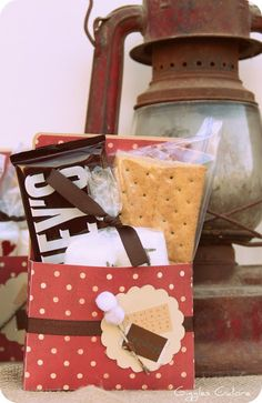 """Camp S'more Party: Cute packaging for S'mores - smores. Plus the source has lots of cute photos for her """"Camp S'more"""". 16th Birthday, Birthday Parties, Kid Parties, Birthday Board, Birthday Ideas, Camping Party Favors, Camping Theme, Camping Ideas, Porches"""