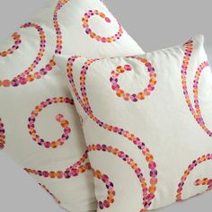 Tutti Frutti Pillow, Orange Pink Swirl Throw Pillow Cushion Cover Designer Pillow, Kaufmann Coastal Pillows, Decorative Beach House Decor  Yes, these are as fabulous as they look! The beautiful colors of this Kaufmann fabric are a perfect complement to beach living. Features a light tan background with embroidered circles. Features yummy oranges and pinks that resemble rows of lollipops. The front and back are the same.  This fabric would work beautifully in a main living area, but would…