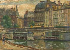 ROBERT CAMPBELL (1902-1972) Lot closed - Price Realized incl. BP:$3,100  Estimate: $1,200 - $2,000  (On the Seine)  oil on board signed lower left: Robert Campbell 25 x 35 cm  PROVENANCE Private collection, Melbourne