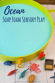 This ocean soap foam recipe mixes soap and water with cornstarch to create foam that has a great texture. Color it blue and add sea animals for a sea theme! Ocean Activities, Infant Activities, Preschool Activities, Summer Activities, Sensory Bins, Sensory Play, Sensory Table, Sensory Bottles, Baby Sensory