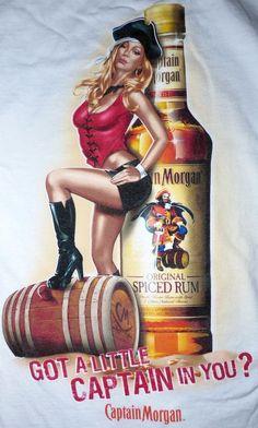 Licensed Captain Morgan Spiced Rum Sexy Girl Pinup Girl Shirt Size Medium #CaptainMorgan #GraphicTee Vintage Rock Tees, Captain Morgan, Spiced Rum, Sexy Girl, Pin Up Girls, Shirts For Girls, Pinup, Wonder Woman, Cars