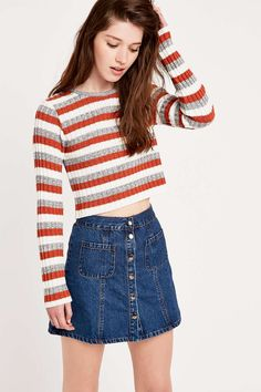 Urban Outfitters Stripe Jumper in Orange and Grey