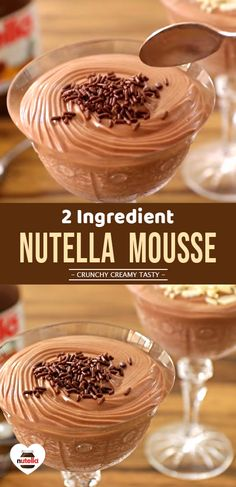 2 Ingredients NUTELLA MOUSSE for Nutella lovers #ChocolateMousse #ChocolateDessert