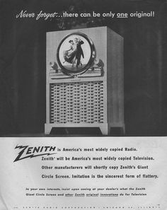 """Soon EVERYONE is going to be copying Zenith's """"Giant Circle Screen"""". Bad call. But awesome TV! Zenith, 1949"""