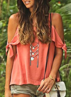 Sweet Spaghetti Strap Solid Color Cut Out Blouse For Women Blouses | RoseGal.com