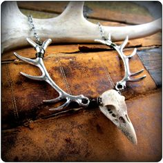 Antler & Skull Necklace ~ silver or brass deer antlers w/ carved raven bird skull ~ Pagan Yule Gift Wiccan Witchy Gothic Taxidermy Jewelry by TalismanaDesigns on Etsy https://www.etsy.com/ca/listing/210189539/antler-skull-necklace-silver-or-brass