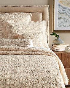 Crocheted by hand, this cozy coverlet set introduces lovely texture and a subtle pattern into your decor. Crochet Bedspread Pattern, Crochet Doily Rug, Crochet Home, Elegant Curtains, Homemade Home Decor, Pink Quilts, Bed Covers, Bed Spreads, Bed Sheets