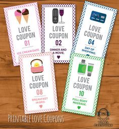 Printable Romantic Love Coupons INSTANT DOWNLOAD by TomelCreations
