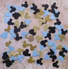 Prince Mickey Black Baby Blue and Gold Glitter Mouse Head 1 inch Shapes Tiny Die Cuts for crafts Tag