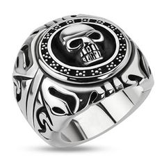 Skull Signet – Black oxidized silver stainless steel wide men's skull signet ring