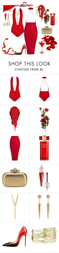 """""""Red Cocktails"""" by poshgirlus on Polyvore featuring Estée Lauder, Alexander McQueen, Christian Louboutin, BERRICLE and Sydney Evan"""