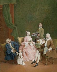 Pietro Longhi | Portrait of a Venetian Family with a Manservant Serving Coffee, Pietro Longhi, c. 1752 | Portret van een Venetiaanse familie met een bediende die koffie serveert. In een met groen damast gestoffeerde salon zitten drie leden van een familie. Rechts, in een houten, groen beklede fauteuil, zit de heer des huizes gekleed in een effen jas, kniebroek en een geborduurd mouwvest. Hij houdt een porseleinen kopje vast. Zijn vrouw zit tegenover hem in een gele fauteuil, bezig met…