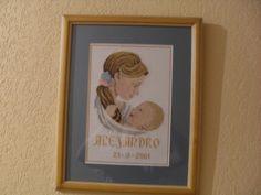Cuadro en punto de cruz para nacimiento de bebés