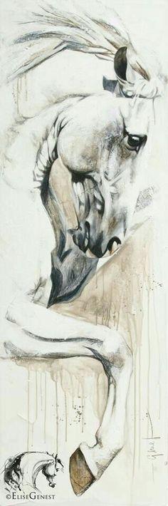 Artist Elise Genest Arts & Chevaux Zairo, again and again acrylic on canvas Pferde in Kunst & Bildern :-) Arte Equina, Horse Sketch, Horse Artwork, Horse Drawings, Equine Art, Horse Pictures, Horse Love, Animal Paintings, Horse Paintings
