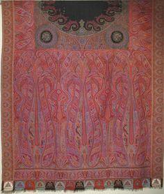 """Kashmir Amlikar Shawl - Amlikar is a Method of Weaving. Handwoven Wool. India. Circa Mid 19th Century. 54"""" x 23""""."""