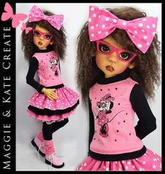 "OOAK * Minnie Mouse * Outfit for Kaye Wiggs 18"" MSD BJD by Maggie & Kate Create"