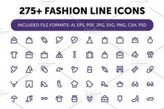 275+ Fashion Line Icons by Vectors Market on @creativemarket