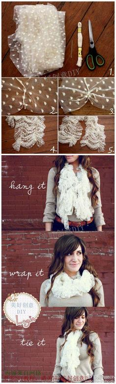 Make Your Own Lace Scarf! 2019 DIY scarf cutest scarf I've ever seen The post Make Your Own Lace Scarf! 2019 appeared first on Lace Diy. Fabric Crafts, Sewing Crafts, Sewing Projects, Diy Fashion Projects, Fashion Ideas, Diy Vetement, Ideias Diy, Lace Scarf, Ruffle Scarf