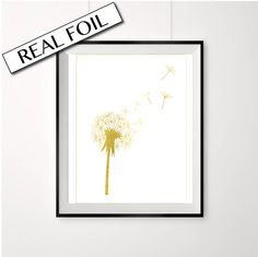 Dandelion print, gold foil dandelion, gold foil flower, gold and white, real gold foil poster, cute kids print, gold foil art