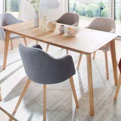 Küchentisch Spint aus Eiche Massivholz verlängerbar Dining Chairs, Dining Table, Cozy House, Decoration, Solid Wood, Plates, Kitchen, Furniture, Home Decor