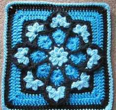 Stained Glass Afghan Square designed by Julie Yeager via @Marie Underground Crafter