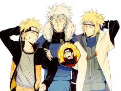 Naruto// Tobirama,Hashirama Senju, Minato and Naruto Naruto Minato, Anime Naruto, Comic Naruto, Neji E Tenten, Naruto Cute, Naruto Shippuden Anime, Itachi, Narusasu, Sasunaru