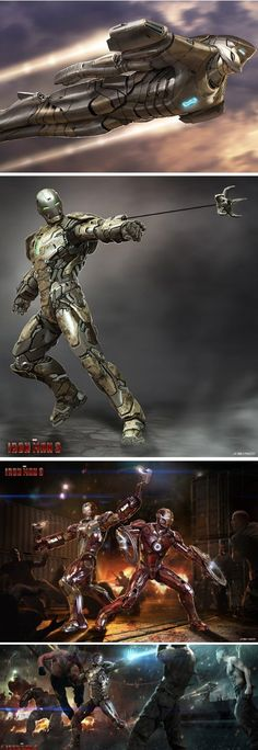 Concept Art For Unused Iron Man 3 Suits. So much Epicness. Iron Man 3, Iron Man Suit, Iron Man Armor, Marvel Dc Comics, Marvel Heroes, Marvel Avengers, Film Gif, Iron Man Avengers, Univers Dc