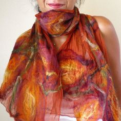 nuno felted scarf imagine me & you by QaraQul on Etsy
