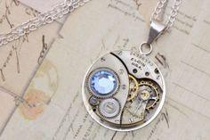 Steampunk Necklace Sterling Silver Chain by inspiredbyelizabeth, $49.00