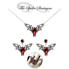 Gothic bat winged earrings necklace ring 'Purple/Red Bats' halloween... ($18) ❤ liked on Polyvore featuring jewelry, victorian jewellery, gothic silver jewelry, purple jewelry, gothic victorian jewelry and victorian silver jewelry