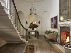 Naturally neutral and exceptionally elegant.  Hall designed by Rose Uniacke.