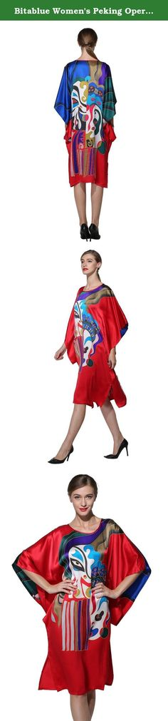 Bitablue Women's Peking Opera Masks Pure Silk Batwing Sleeve Pajama Nightgown. This very exclusive women's batwing sleeve pajama nightgown, made of quality pure silk fabric in vivid red color with the artistic handpainted Chinese peking opera masks on both front and back, provides the optimum blend of flair and comfort….