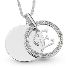 Personalized Initial E Swing Necklace With Free Keepsake Box, Add Your Message