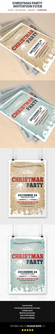 Festive Christmas Invitation Flyer Template  Flyers Christmas