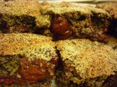 meggyes_makos_piskota_recept Diabetic Recipes, Diet Recipes, Meatloaf, Vegan Vegetarian, Banana Bread, Cookies, Healthy, Cake, Food