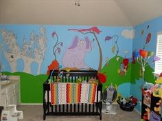 dr suess rooms ♥ for a toy room....love love love the wall murrals, colors and the lamp
