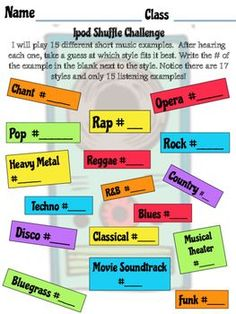 This is a fun activity I use on the first day of Middle School General Music!I play 15 different short listening examples - I personally use a playlist from my iTunes, but you could use a CD, youtube, etc.Students listen to the short clip and then choose which style it fits in best.