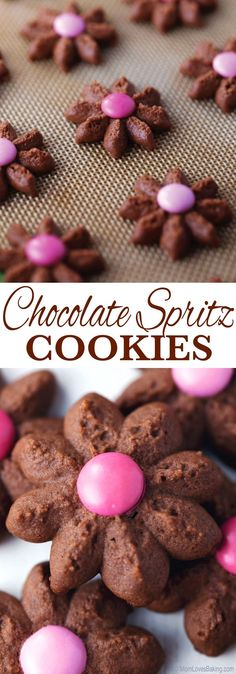 Spritz Cookies Chocolate Spritz Cookies buttery chocolatey and delicious Easy to make with a cookie press and perfect for a ladies tea or birthday party Find the recipe. Spritz Cookie Recipe, Spritz Cookies, Galletas Cookies, Brownie Cookies, No Bake Cookies, Cookie Desserts, Cookies Et Biscuits, Yummy Cookies, Holiday Cookies