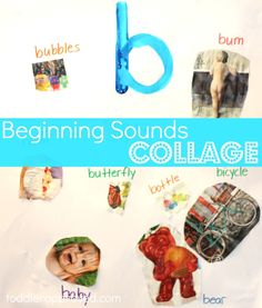 Beginning sounds collage. How do you teach your kids about letters and sounds in a fun way?