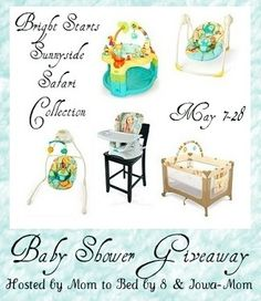 Mom to Bed By 8 - Bright Starts - Iowa Mom    Prize:   Bright Starts Sunnyside Safari Collection including the Chair Top High Chair, Plug in Sway & Swing, Portable Swing, Playard, and Saucer!    Open to: US only    The event dates: May 7 at 12:01 am to May 25 11:59pm