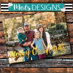 Any Color MERRY CHRISTMAS Card Faux Gold Foil Red Green 1