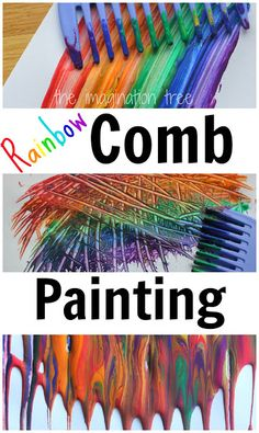 Rainbow Comb Paintings  Enjoy a fabulous art process using combs and brightly coloured paints, to explore textures and patterns with kids!