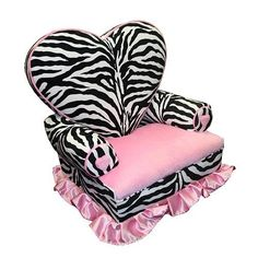 """Newco Kids Princess Heart Chair Minky, Zebra $63.99 This whimsical chair featuring a heart shaped back is the perfect thrown for your little princess. The cozy soft fabric is easy to clean with mild soap and water. The roomy seat measures 12"""" x 12"""" and 9"""" to the floor. The heart shape seat back measures 18"""" from the seat. There is coordinating furniture available to match this cute chair so you can create a whole room setting. Other items sold separately. This item is proudly made in the…"""