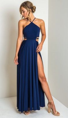 Royal Blue A-Line Chiffon Floor Length Prom Dress Sexy Side Slit Evening Dresses Party Gowns