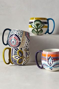 mismatching mugs