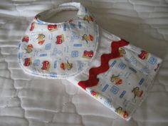 Fireman and Firetruck Baby Bib and Burp Cloth by TheOldPurpleBarn, $12.00