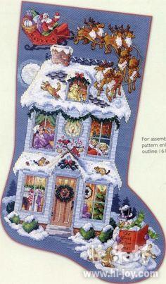 ru / Photo # 1 - twas the night before christmas - natalytretyak Cross Stitch Christmas Stockings, Cross Stitch Stocking, Xmas Cross Stitch, Xmas Stockings, Christmas Cross, Cross Stitch Charts, Cross Stitching, Cross Stitch Patterns, Christmas Ribbon