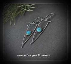 Dream On~ Hubei Turquoise Argentium Silver Artisan Earrings  by AztecaDesignsBoutique, $89.00 USD