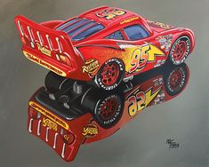 Painting of the star character of the cars movie, the painting is from the diecast model scale 1:55, shows all the details, decals and shapes of the model. It is showcased in a photorealistic painting with acrylics on canvas, measures 50x40cm. Not affiliated to Disney Pixar, original not available for sale, no copies will be issued Race Car Party, Star Character, Lightning Mcqueen, Diecast Models, Disney Pixar, Automobile, Acrylics, Decals, Canvas