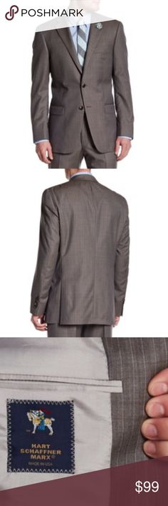 HART SCHAFFNER MARX PINSTRIPE 2 BUTTON SZ48 R. HART SCHAFFNER MARX MENS BROWN WOOL PINSTRIPED TWO BUTTON BLAZER SIZE 48 REGULAR   Jacket: - Brown pinstripe fabric - Notch collar - Two button closure - Four buttons on each sleeve - Chest pocket - Front faux flap pockets - 3 interior pockets - Side vents - Made in USA DARK BROWN COLOUR. THE LIGHTNING USED IN THE PHOTOS WITH THE MODEL MAKES IT LOOK LIGHTER THAN IT ACTUALLY IS. SEE THE LAST PHOTOS FOR JACKET WITH NO LIGHT FILTERS FOR  EXACT ITEM…